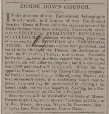 Appeal for funds for Combe Down parsonage - Bath Chronicle and Weekly Gazette - Thursday 25 May 1837