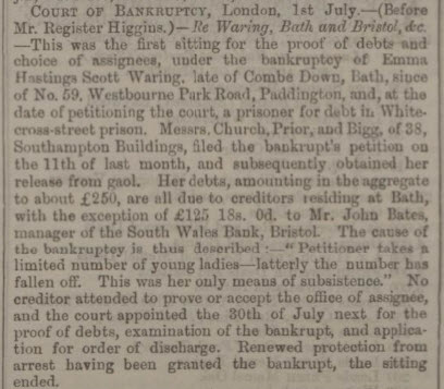 Bankruptcy of Emma Scott Waring - Bath Chronicle and Weekly Gazette - Thursday 9 July 1863
