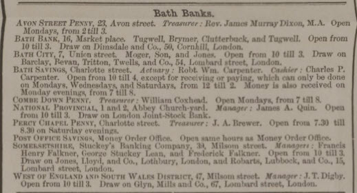 Bath Banks inc Combe Down Penny and William Coxhead - Bath Chronicle and Weekly Gazette - Thursday 8 December 1864