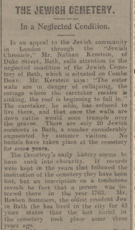 Bath Jewish Cemetery neglected - Bath Chronicle and Weekly Gazette - Saturday 21 January 1928