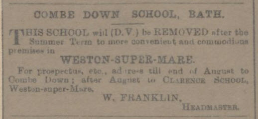 Combe Down School advert - Bath Chronicle and Weekly Gazette - Sunday 11 April 1896
