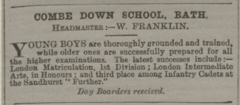 Combe Down School advert - Bath Chronicle and Weekly Gazette - Thursday 2 March 1893