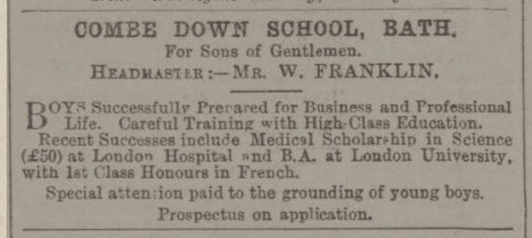 Combe Down School advert - Bath Chronicle and Weekly Gazette - Thursday 4 January 1894