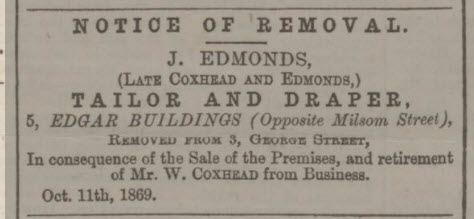 Coxhead & Edmonds - Bath Chronicle and Weekly Gazette - Thursday 21 October 1869