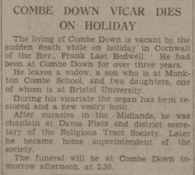 Death of Rev Frank Last Bedwell - Western Daily Press - Wednesday 25 August 1937