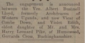 Engagement of Ven Albert Bushnell Lloyd - Bath Chronicle and Weekly Gazette - Friday 2 June 1933