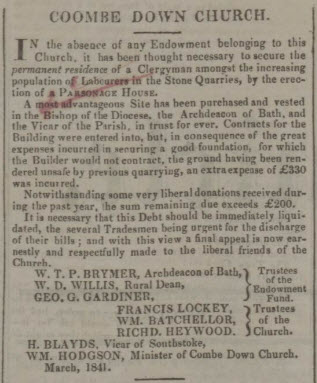 Further appeal for funds for Combe Down Parsonage - Bath Chronicle and Weekly Gazette - Thursday 18 March 1841