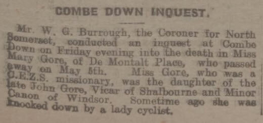 Inquest on Miss Mary Gore - Bath Chronicle and Weekly Gazette - Saturday 9 May 1925