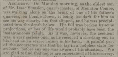 Isaac Sumsion son accident - Bath Chronicle and Weekly Gazette - Thursday 12 December 1844