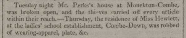 Miss Hewlett robbed - Bath Chronicle and Weekly Gazette - Thursday 1 November 1827