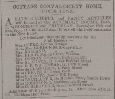 Miss Leathart and convalescent home - Bath Chronicle and Weekly Gazette - Thursday 14 October 1880