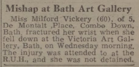 Miss Milford Vickery injured - Bath Chronicle and Weekly Gazette - Saturday 18 June 1949