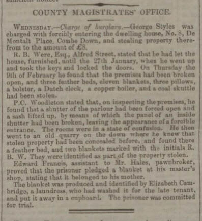 Mr Were burgled at 8 De Montalt Place - Bath Chronicle and Weekly Gazette - Thursday 1 March 1855