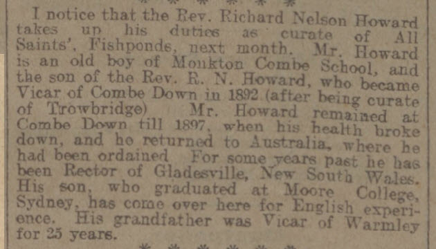 Rev Richard Nelson Howard - Bath Chronicle and Weekly Gazette - Saturday 6 September 1913