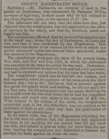 Sampson Willis, Surveyor of Highways summons - Bath Chronicle and Weekly Gazette - Thursday 26 February 1852