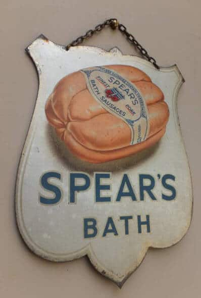1930s Spears Bath sausages sign