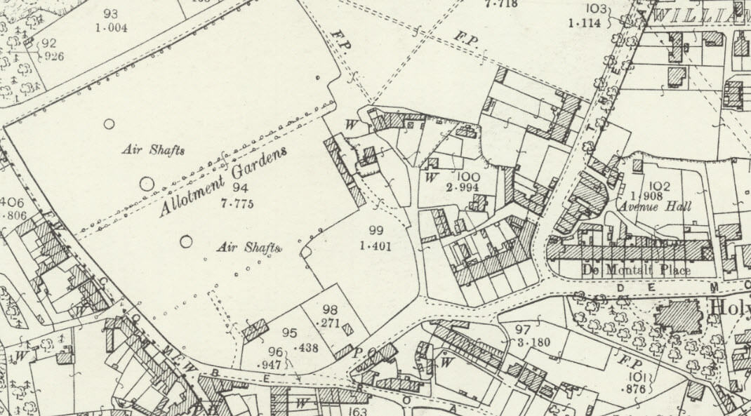 Area of Combe Down allotments from 1892 - 1905 map
