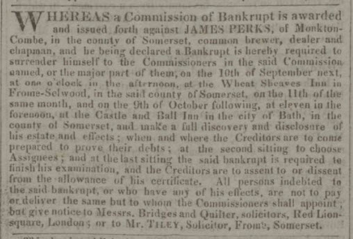 Bankruptcy of James Perks - Bath Chronicle and Weekly Gazette - Thursday 2 September 1824