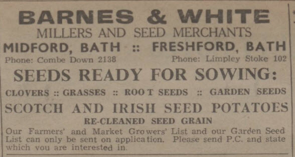 Barnes & White seed merchants - Bath Chronicle and Weekly Gazette - Thursday 24 December 1942