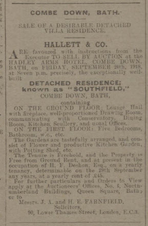 Bath Chronicle and Weekly Gazette - Saturday 14 September 1918