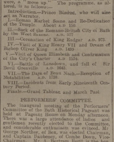 Bath Historical Pageant - Bath Chronicle and Weekly Gazette - Thursday 28 January 1909