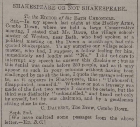 Charles Daubeney on Shakespeare - Bath Chronicle and Weekly Gazette - Thursday 3 September 1885