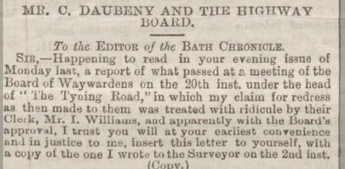 Charles Daubeney ridiculed letter (part) - Bath Chronicle and Weekly Gazette - Thursday 2 June 1887