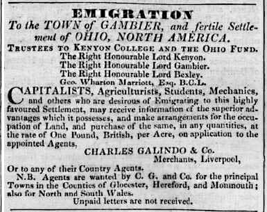 Charles Galindo advert - Hereford Journal - 11 Aug 1830
