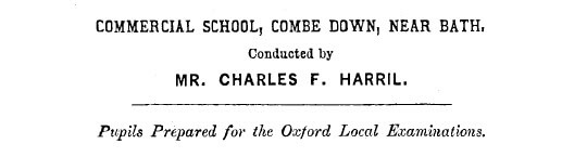 Charles Harril, Commercial School - 1876