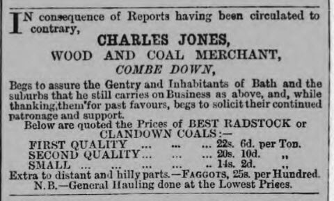 Charles Jones wood and coal merchant - Bath Chronicle and Weekly Gazette - Thursday 23 August 1877