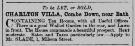 Charlton Villa to be let or sold - Bath Chronicle and Weekly Gazette - Thursday 26 April 1860