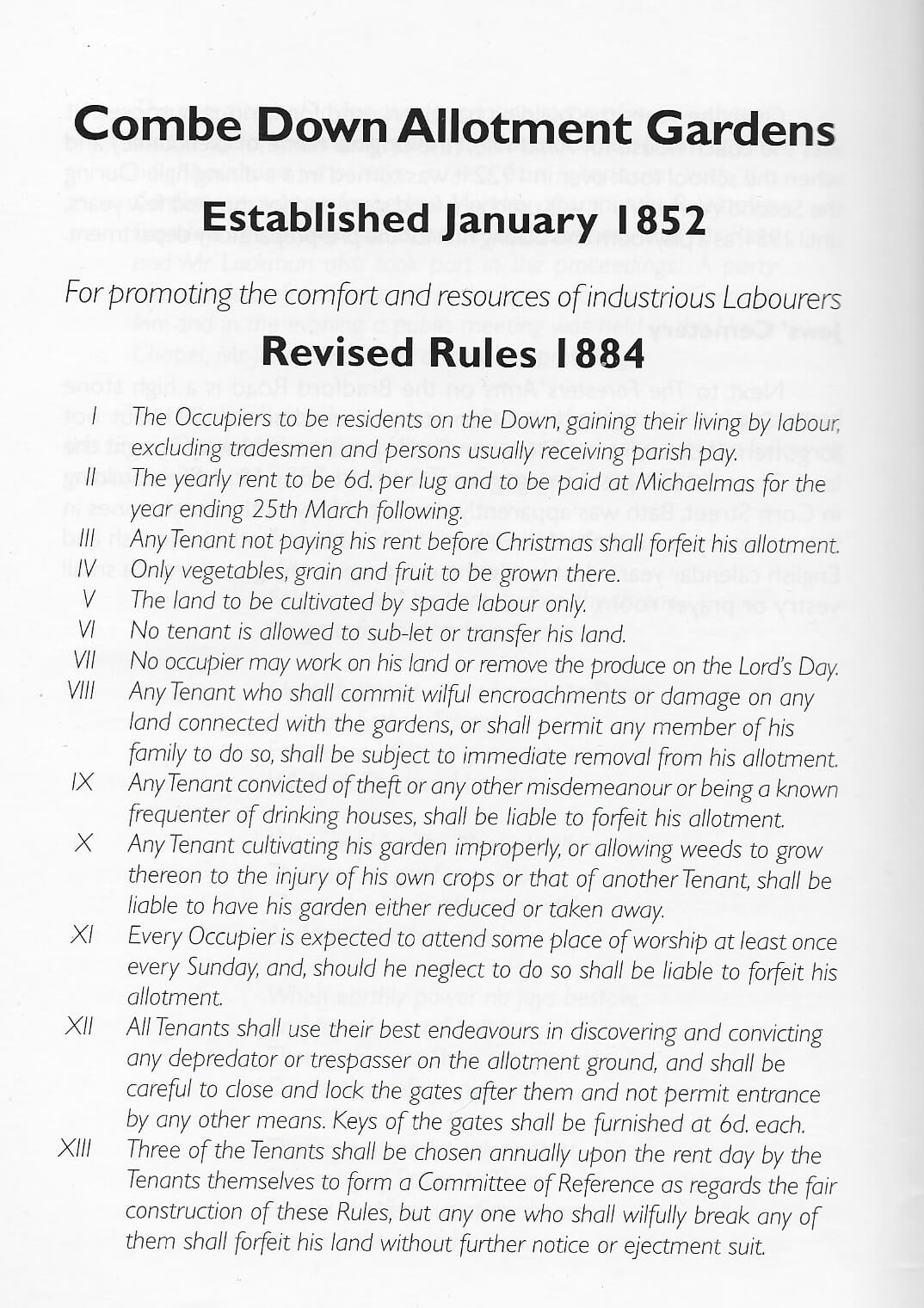 Combe Down allotments 1884 rules