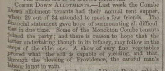 Combe Down allotments - Bath Chronicle and Weekly Gazette - Thursday 16 October 1856