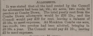 Combe Down allotments - Bath Chronicle and Weekly Gazette - Thursday 25 April 1895