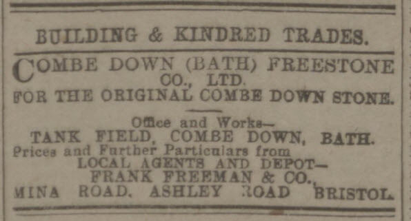 Combe Down freestone - Western Daily Press - Saturday 23 May 1914