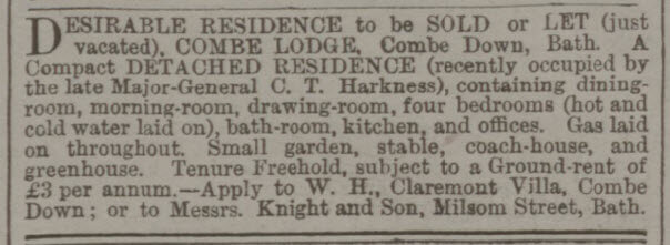 Combe Lodge for let or sale - Bath Chronicle and Weekly Gazette - Thursday 10 March 1881