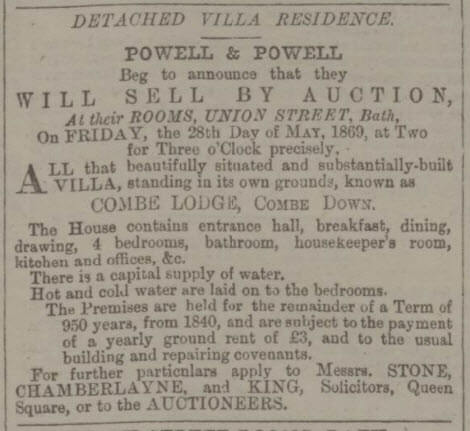 Combe Lodge for sale - Bath Chronicle and Weekly Gazette - Thursday 29 April 1869
