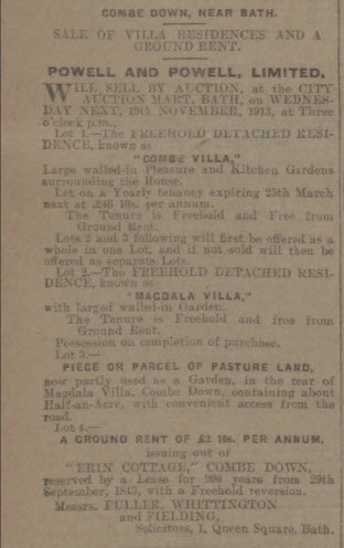 Combe Villa for sale - Bath Chronicle and Weekly Gazette - Saturday 15 November 1913