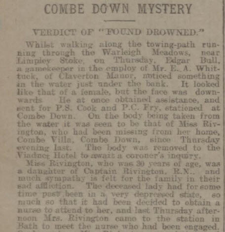 Death of Mary Sangster Rivington - Bath Chronicle and Weekly Gazette - Thursday 25 June 1908