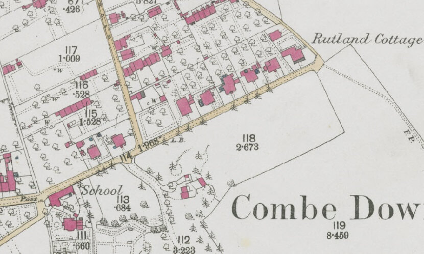 Detail from 1873 - 1888 map showing Eastern end of Church Road, Combe Down