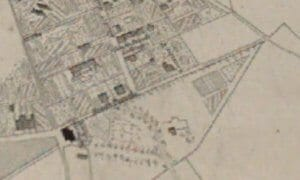 Detail from Cotterell's map of 1852 showing Eastern end of Church Road, Combe Down