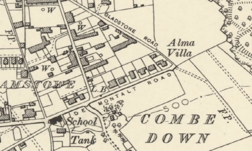 Detail of 1888 - 1913 map showing Eastern end of Church Road, Combe Down