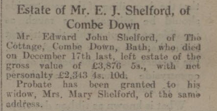 Edward John Shelford - Bath Chronicle and Weekly Gazette - Saturday 18 April 1931