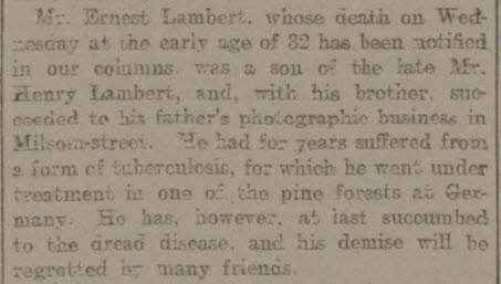 Ernest Lambert tuberculosis - Bath Chronicle and Weekly Gazette - Thursday 31 October 1901
