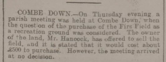 First consideration of Firs Field - Bath Chronicle and Weekly Gazette - Thursday 25 February 1904