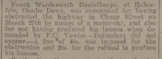 Frank Wordsworth Donisthorpe - Bath Chronicle and Weekly Gazette - Thursday 11 April 1907