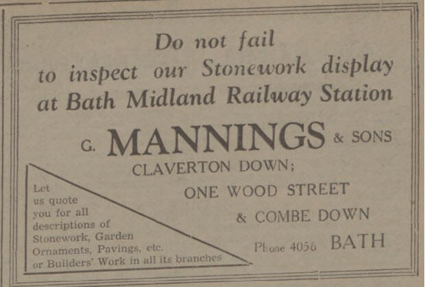 G Mannings & Sons - Bath Chronicle and Weekly Gazette - Saturday 2 July 1938