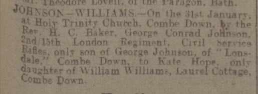 George Conrad Johnson marriage - Bath Chronicle and Weekly Gazette - Saturday 5 February 1916