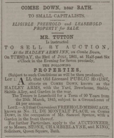 Hadley Arms for sale - Bath Chronicle and Weekly Gazette - Thursday 11 July 1861