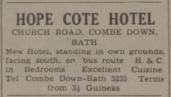 Hope Cote hotel - Bath Chronicle and Weekly Gazette - Saturday 18 April 1942